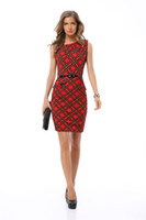Wholesale Red Plaid Tunic - New 2017 Elegant Women Red Dress Summer Vintage Plaid Slim O-neck Sleeveless Bodycon Patchwork Tunic Work Casual Office Pencil Dress