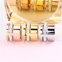 Wholesale Three Color Gold Ring - Stainless Steel Womens Finger Rings 18K Rose Gold Three Layers With Crystals Gold-Color Trendy Couple Wedding Jewelry Female Gifts