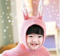 charakter koreanischen hut großhandel-2017 neue winter kinder comic-figuren in der koreanischen version hut baby kaninchenohren baby kapuzenhüte