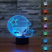 Wholesale Night Light Changes Colors - 2pc 2017 Cowboys 3D Night Light Touch Button Colors Change LEDTable Lamp Gift Mix Order Custom Any LED Light