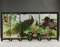 Crystal oriental folding screens - Mini Superb Beautiful Old Oriental Lacquer Handwork Painting Vivid Peacock Folding Screen