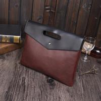 Wholesale Envelope Purse Clutch Pu - High quality Envelope Bag Men Pu Leather Clutch Purse Document Bags Men's A4 Bag String Handbag Black Coffee Trendsetter briefcase