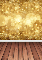 sparkling backgrounds - Gold Sparkle Bokeh Photography Backdrop Pictures Party Photo Booth Background Brown Wooden Planks Floor Baby Newborn Studio Wallpaper Props