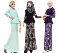 Wholesale Wholesale Islamic Dresses - muslim polyester dress women lace dresses islamic clothes arabia clothing long dress women two-piece dress D160