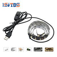Wholesale Background Settings - USB 5V LED Strip 5050 TV Background Lighting 60LEDs m Warm White   White whit Switch 50cm   1m   2m Set