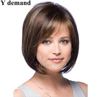Wholesale Synthetic Hair Bangs - Fashion Brown BOB Short Straight Hair Synthetic Wigs Hair With Bangs African American For Black Women In Stock