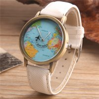 Wholesale Vintage Map Watch - Meibo New Unisex Fashion Vintage World Map Men Clock By Airplane Mens Watches Top Brand Luxury Watches Relojes Hombre 2017