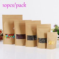 Wholesale Paper Recyclable Package Bag - 10Pcs Lot Brown Kraft Paper Gift Bags Wedding Candy Packaging Recyclable Party Supplies