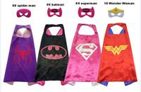 Wholesale robin masks - Halloween gift L70*70cm kids Super hero Capes and masks - Spiderman Flash Supergirl Batgirl Robin for kids capes with mask