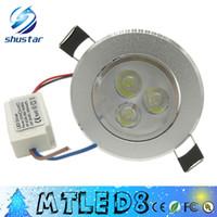 meilleurs luminaires encastrés achat en gros de-meilleure qualité 3W 3 * 3w 9w LED encastré Down Down Light 85-265V led ampoules lampes downlights 300-400lm 10 pcs livraison gratuite