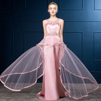Wholesale Prom Dresses Wholes - Custom Made Beaded Crystal Prom Dress 2017 Women Formal Backless Ball Gown Appliques Party Dresses Whole Price