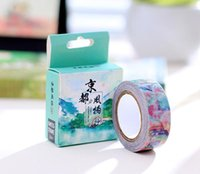 Wholesale- 2016 10 Meters DIY Vintage Jingdong Scenery Japanese Washi Tape Decorative Adhesive Tape Fournitures scolaires