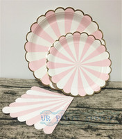 Wholesale Sets Pink Stripe Gold Foil Scallop Paper Plates Large inch Party Plate Small inch Plates Paper Napkins for Baby Shower