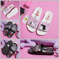 Wholesale Black Lace Up Slipper Shoes - 2017 vans x peanuts slides Slipper Slip On For Women Girls men Beach sandals designer slippers cartoon Snoopy Pink Black Casual Shoes 35-44