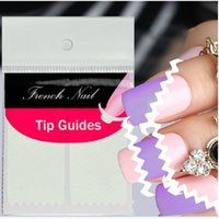 Wholesale Designer French Nail Tips - Wholesale- Designer 2 Sheet Creative French Manicure Wave Edge Tip Guides Vinyls Nail Art Sticker Beauty Accessories
