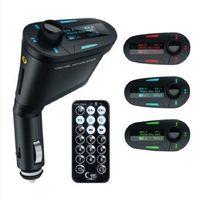 mp3 wma wireless оптовых-Новый автомобильный комплект MP3-плеер беспроводной FM-передатчик модулятор wma беспроводной USB SD MMC ЖК-дисплей с дистанционным синий / красный свет