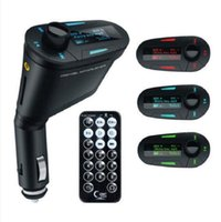 modulador de luz venda por atacado-Novo Kit Carro MP3 Player Sem Fio FM Transmissor Modulador wma sem fio USB SD MMC LCD Com Luz Remoto Azul / vermelho