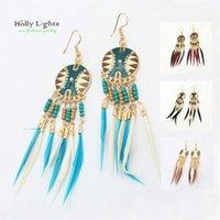 Wholesale Plume Earring - women boho feather dangle earring set ethnic bohemia multicolor drop earring tribal african black brown marine blue plume charm