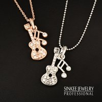 Wholesale Gold Music Note Necklace - Wholesale-2016 New Music Note Guitar Pendant Necklace Sinkee Xl268 18K Rose Gold Plated Brand Jewelry Free Shipping