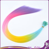 "Wholesale Rainbow Extensions - Wholesale-18-20"" 100Pcs Lot Synthetic I Tip Hair Cosplay Masquerade Hairpiece Rainbow Ombre Hair Loop Grizzly Hair Extensions"