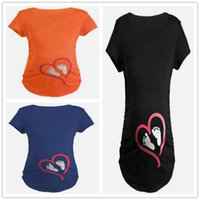 Wholesale Lovely Maternity Clothes - Woman lovely shirts for pregnant Female Summer short sleeve Tanks peek a boo maternity clothes with foot prints
