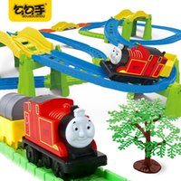 Wholesale Thomas Train Toy Plastic - GouGouShou Baby Electric Rail Car Toy Cute Thomas Electric Train Simulate Railway Locomotive The Boys Best Christmas Gift