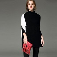Wholesale Knit Fashion Pullover Pattern Free - Fashion Women Batwing Sleeve Sweater Contrast Color Patchwork Pattern High Collar Fashion Women Knit Sweater