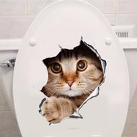 vinil arka plan çıkartması toptan satış-Vinil su geçirmez Kedi Köpek 3D Duvar Sticker Delik Görünüm Banyo Tuvalet Oturma Odası Ev Dekor Çıkartma Posteri Arka Plan Duvar Çıkartmaları