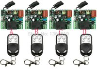 Wholesale Garage Door Switches - Wholesale- Hot Sales New 220V 1CH 10A Wireless Remote Control Switch System teleswitch 4*Receiver and 4*Transmitter Applicance Garage Door