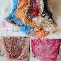 Wholesale lace infinity scarves resale online - Fashion Infinity Scarves Chiffon Lace Multi Colors Floral Print Wraps DHL Hot Sale