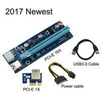 pci ifade 1x kartlar toptan satış-PCI-E Express Yükseltici Kart Adaptörü 1X için 16X USB 3.0 Veri SATA 6 Pin Güç Kablosu Ver006C 60 CM PCIe PCI BTC Bitcoin Litecoin Maden Makinesi için