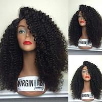 peruk tam kıvırcık toptan satış-Brezilyalı Bakire Saç Tam Dantel İnsan Saç Peruk Kinky Curl Bakire Saç Siyah Kadınlar Için Dantel Ön Peruk Kinky Kıvırcık