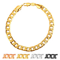 Wholesale Trendy Charm Bracelets - U7 7mm Hiphop New Chain Bracelet Men Jewelry Gold Platinum Black Gun Rose Gold Plated Trendy Thick Rock Mens Chains Perfect Accessories