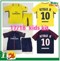 Wholesale T Shirts Boys Children - 17 18 NEYMAR JR AURIER kids kit shirt T SILVA CAVANI DI MARIA PASTORE Verratti Matuidi seasons custom 2017 2018 boy child LUCAS jersey