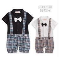 Wholesale Kids Brace Shorts - 2 colors New style summer style Baby kids cute Gentleman short sleeve braces Plaid bow tie romper 100% cotton kids romper free shipping