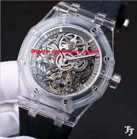 Wholesale Mechanical Skeleton Watch Movement - Luxury Watches Mens Black Rubber Bracelet Steel Skeleton 42mm Automatic Movement Fashion Brand Men's Watch Wristwatch