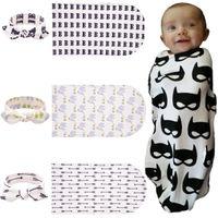 Wholesale batman baby bag resale online - 2017 New Infant Baby Swaddle Baby Boys Girls Muslin Blanket Headband Newborn Baby Soft Cotton Batman Print Two Piece Set Sleeping Bags