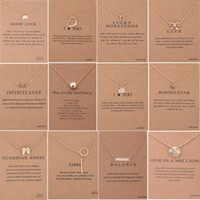 Wholesale Necklace Elephant - 60 Styles Dogeared choke Necklace with Card Golden Silver Color Good Luck Elephant Pendant Noble Choker Valentine Christmas Gift