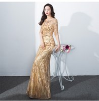 Wholesale Cheongsam Sequin - Banquet evening dress 2017 new summer self-cultivation of the shoulder dress long section of the host was thin fish tail cheongsam
