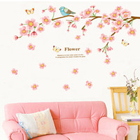 Décalcomanies Murales Art Chinois Pas Cher-60 * 90cm style chinois Peach Blossom et oiseau Stickers muraux DIY Art Decal Removable Wallpaper Mural Sticker pour salon JM7296