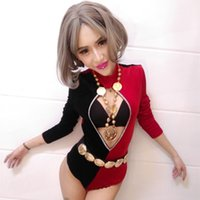 Wholesale Unitards For Women - New style female dj stage bodysuit costumes nightclub bar sexy slim red black jumpsuit costumes dancer show for prom party jazz performance