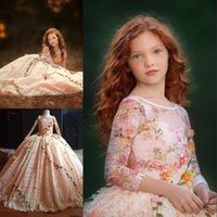 Wholesale Limited Edition Girls Dresses - Limited Edition Flower Girl Dresses Floral Applique Lace Ball Gown Jewel Neck Long Sleeves Puffy Birthday Dress Gorgeous Girls Pageant Dress