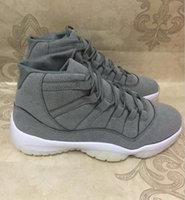 Wholesale Cool Shoes For Sale - 2016 New Retro 11 PRM Grey Suede men Basketball Shoes 11s Cool Grey White Athletics Trainers Cheap Sneakers For Sale