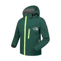 Wholesale Kids Wind Coat - North Kid Soft Shell Detachable Hood Zip Pocket 6 Color 110-160 Face Wind Stopper Waterproof Breathable Outdoor Sports Jacket Coat EHT