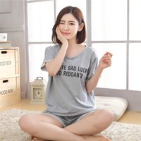 e12cb5bf64 cotton woman nightgown NZ - Summer Fashion Women Cotton Pajamas Sets Short  Sleeve Alphabet Loose Nightgown
