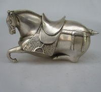 Wholesale Silver Horse Statue - Antique antiques Collectible Decorated Old Handwork Tibet Silver Carved Tang Horse Statue  Sculpture