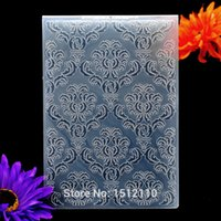 Wholesale Diy Scrapbook Decoration - Wholesale-Flower 4 Decoration Plastic Embossing Folder For Scrapbook DIY Album Card Tool Plastic Template 12.5x17.8cm KW6102032