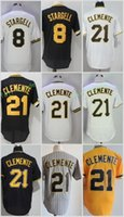 Wholesale Willie Stargell - Pittsburgh #8 Willie Stargell 21 Roberto Clemente Flexbase Jerseys Cool Base Throwback Stitched Black White Grey Yellow