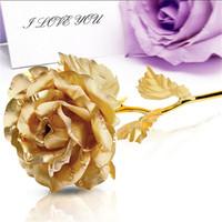 Wholesale gold foil gifts - Wholesale- 24CM Handcrafted Handmade 24k Gold Foil Rose Flower Dipped Long Stem Lovers wedding Gift Random color