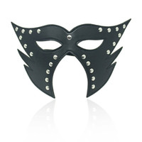 Wholesale Couples Restraint - comfort fit High Quality SM Bondage Restraint Leather Eye Mask Sexy Blindfold Couple Flirt Eyeshade Sex toys